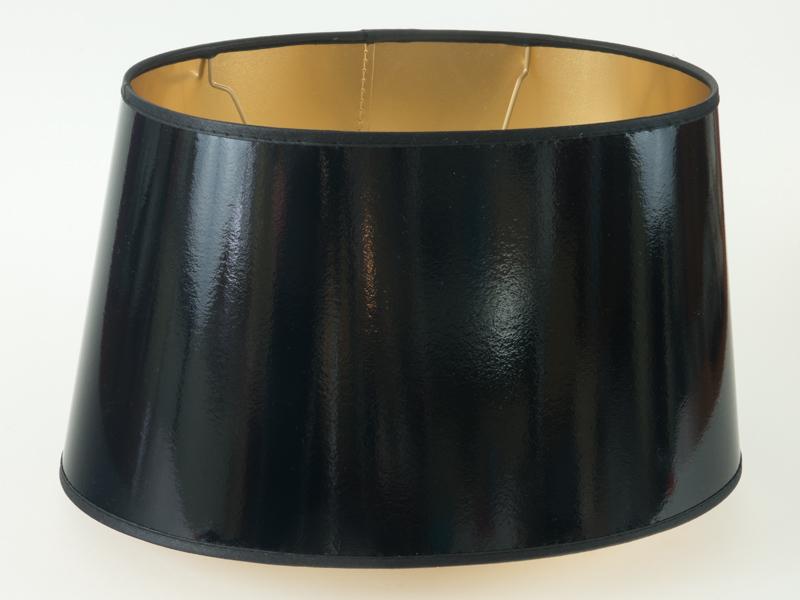lampenschirm mittelgross schwarz gold lack f r tischlampen e27 oval xl stehlampe ebay. Black Bedroom Furniture Sets. Home Design Ideas